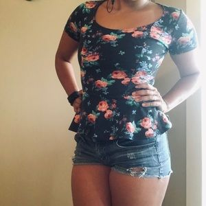 Floral peplum top with back cut out